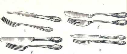 Ножи и вилки: а - ст.; б - рыбные; в - закусочные; г - десертные